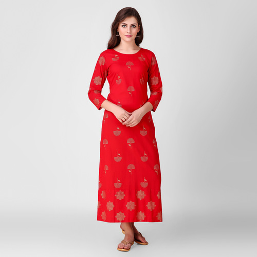 Red Printed Patch Dress