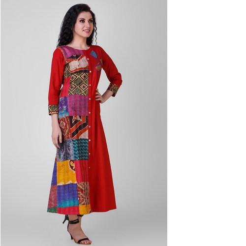 Red Cotton Silk Kantha Patchwork Dress