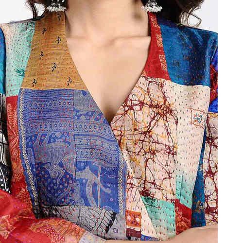 Black Kantha-Embroidered Cotton Kurta with Pants Set of 2