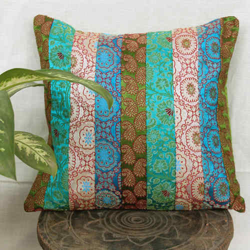 Green Blue Stripe Patch Brocade Cushion Cover 16x16
