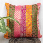 Multi Colored Brocade patch Cushion Cover 16x16