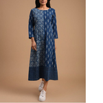 Indigo Dabu Cotton Printed Patch Dress