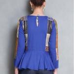 Blue Cotton silk Kantha Patch Peplum Top