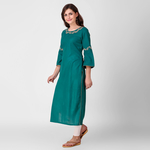 Teal Zari Leaf Embroidered Kurta