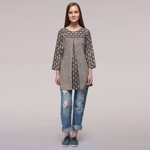 Grey Pleated Dabu-printed Cotton Tunic
