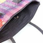 Vintage Silk kantha Red Multicolored Tote Bag