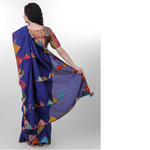 Navy Dupion Silk Kantha Applique Saree
