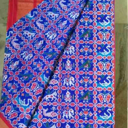 Blue Ikkat Patola Silk Saree