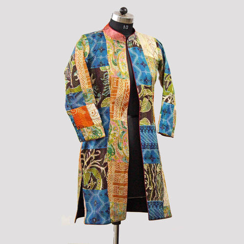 Vintage Silk Kantha Long Slit Jacket