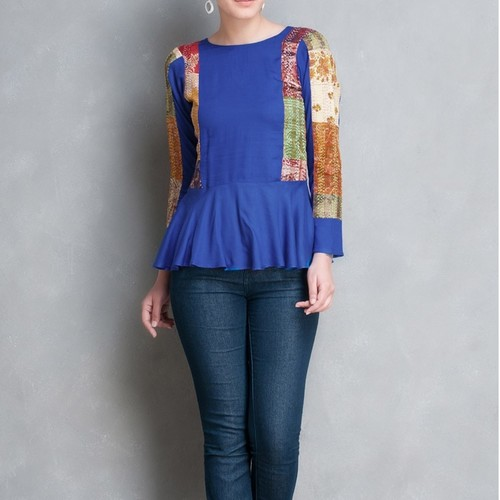 Blue Cotton silk Kantha Patch Peplum Top