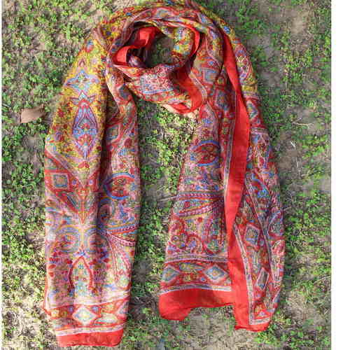 Red Silk Printed Paisely Scarf