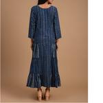 Indigo Dabu Cotton Printed Patch Gather Dress