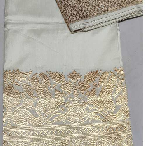 White Gold  Benarsi Silk Saree