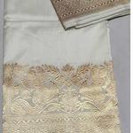 White Gold  Benarsi Silk Saree
