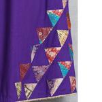 Purple Cotton Silk Kantha Patch Skirt