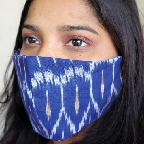 100 Cotton Reusable Handloom Blue Ikat Mask Pack of 4