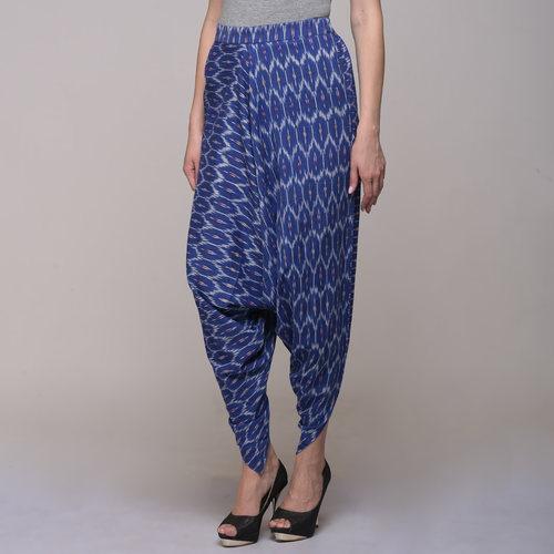 Blue Cotton Ikat Harem Pants