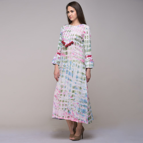 Clamp Dyed Dress With Tassels