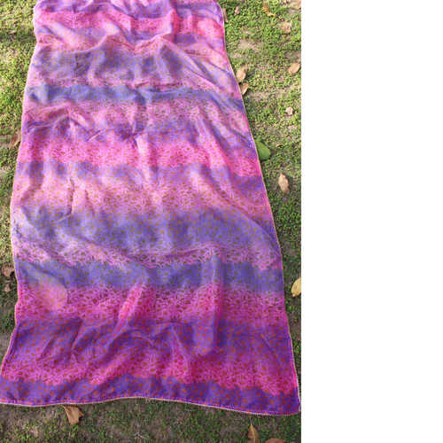 Pink Blue Printed Multi Colored Silk Chanderi Dupatta/Odhini
