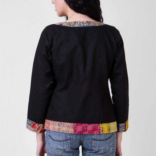 Multicolor Cotton Silk Kantha Patchwork Jacket