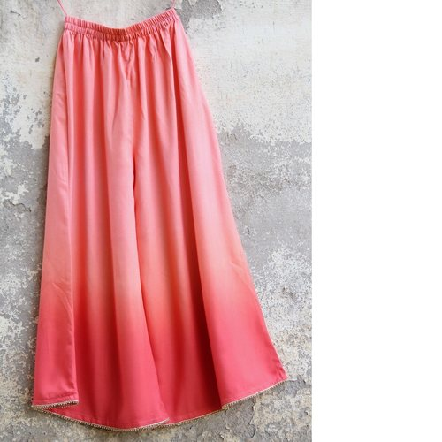 Peach embellished Ombre Cotton Silk Palazzo