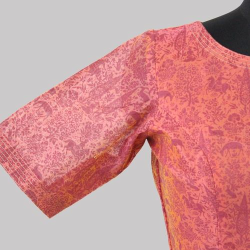 Pink Boat Neck Chanderi Printed Blouse