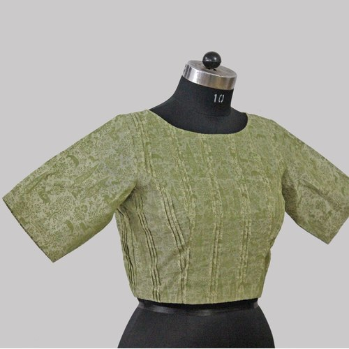 Green Printed Chanderi Blouse With Zari