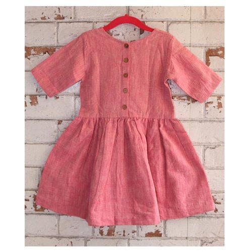 Pink Handloom Kala Cotton Girls Dress