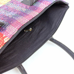 Vintage Red-Yellow Multicolored  Silk Kantha Tote Bag
