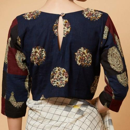 Printed Patch Cotton Blouse