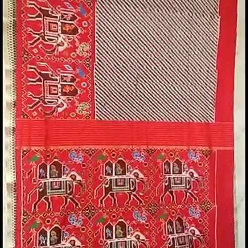 Red Ikkat Patola Saree by B. Kranthi Kumar