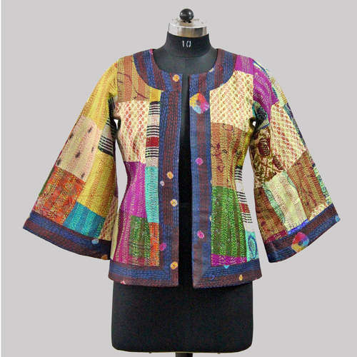 Vintage Silk Kantha Flared Sleeve Jacket