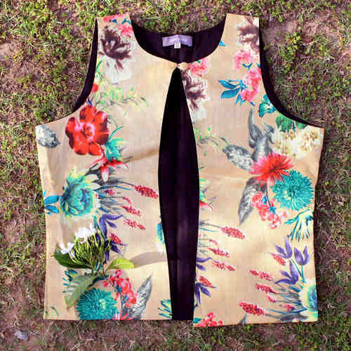 Beige Floral Printed Dupion Silk Waistcoat