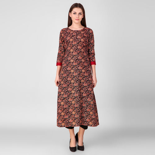Red Printed Floral Kurta