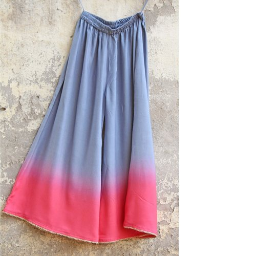 Grey Pink Ombre Embellished Palazzo