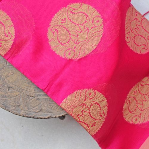 Pink Organza Brocade Indian Ethnic Dupatta
