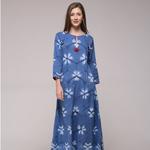Blue Floral Slit Dress