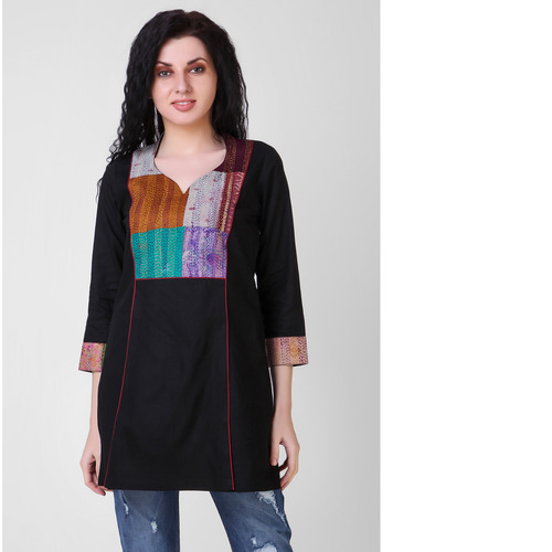 Black Cotton-silk Top with Kantha Embroidery