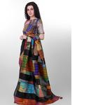 Black Dupion Silk Kantha Applique Saree