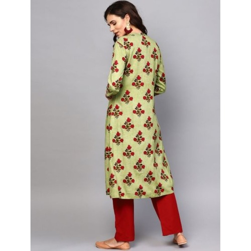 Green Floral Printed Double Layered A-Line Kurta