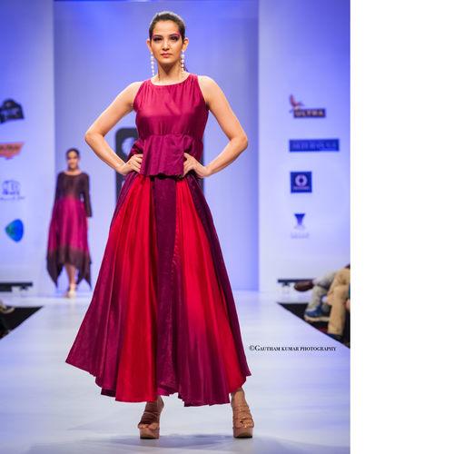 Ombre Dyed Silk Chanderi Flared Peplum Dress