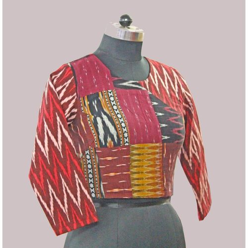 Ikat Patch work  Saree Blouse