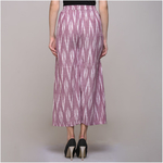 Pink Cotton Ikat Front Pleated Pant