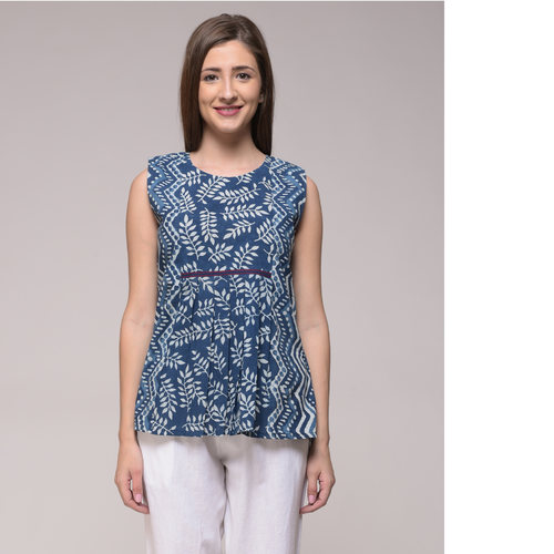 Indigo Leaf Print Top