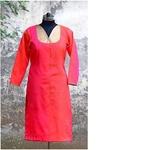 Pink Silk Shaded Chanderi Kurta