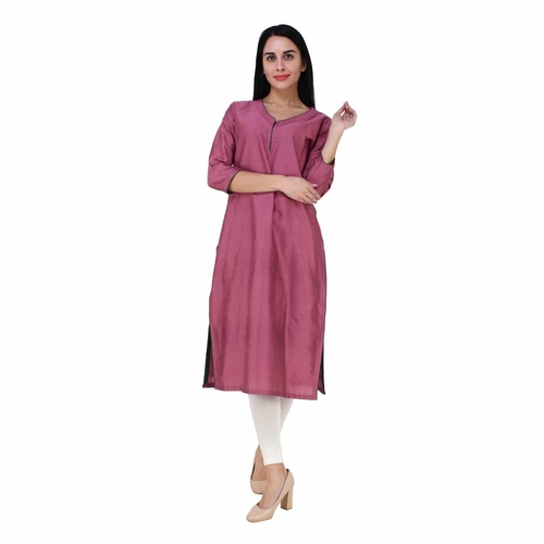 Pink Cotton silk Kurta