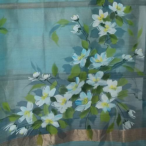 Blue Hand Painted Floral bouquet Handwoven Indian Chanderi StoleDupatta