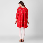 Red Gold Printed Gather Tunic