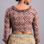 Rust Dabu Cotton Blouse With Ruffle