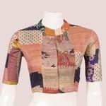 Vintage Silk Kantha Nehru Collar Blouse
